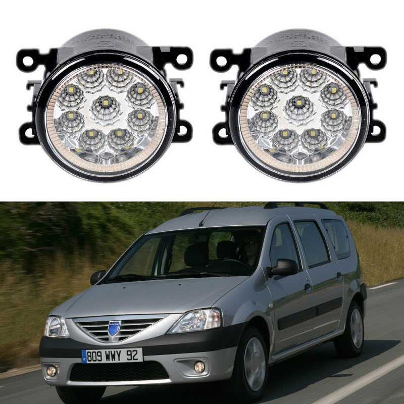 For Dacia Logan MCV KS_ 2007 2008 2009 2010 2011 2012 2013 2014 2015 2016 9-Pieces Led Fog Lights 12V 55W Fog Head Lamp for dacia logan saloon ls