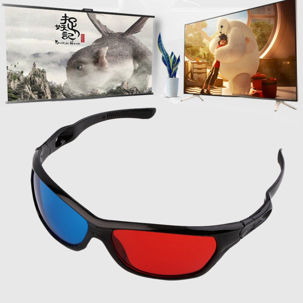 2016 New Universal 3D Plastic <font><b>Glasses</b></font> <font><b>Black</b></font> <font><b>Frame</b></font> <font><b>Red</b></font> <font><b>Blue</b></font> 3D Visoin <font><b>Glass</b></font> <font><b>For</b></font> <font><b>Dimensional</b></font> Anaglyph Movie Game DVD Video TV