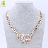 New Fashion Gold Metal Chunky Chain Clear Full Crystal Elephant Pendant Necklace