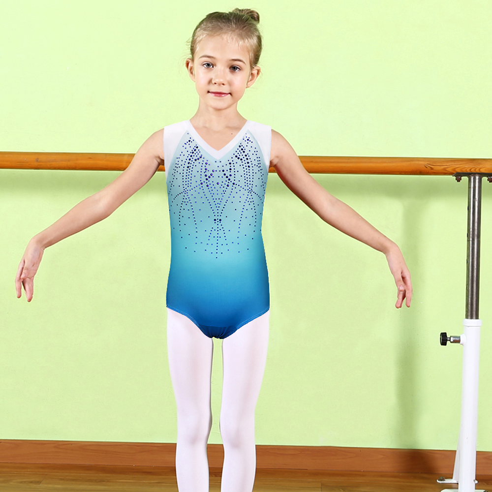 BAOHULU Blue Sleeveless Diamond Ballet Leotard for Girls Kids Dance Wear  Shiny Sparkle Gymnastics Costume Children Bodysuit