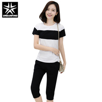 Women Summer Clothing Sets Black Blue Yellow Red Size M 4XL Patchwork Pattern Lady Casual Cotton
