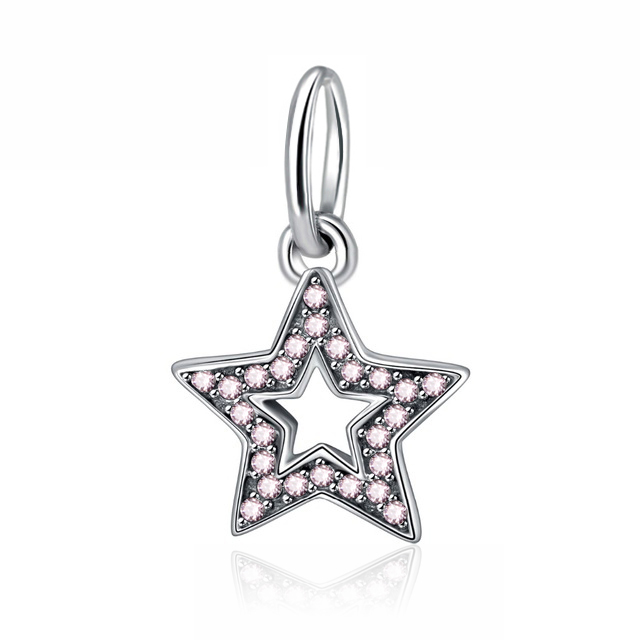 925 Sterling Silver Bead Beloved Infinity Heart Anchor Pink Crystal Micro-Pave Pendant Fit Original Pandora Bracelets DIY Charms