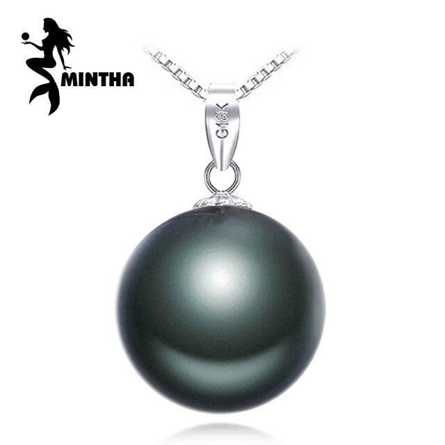 Mintha 18k gold pendant 10 11mm round black pearl tahitian pearl mintha 18k gold pendant 10 11mm round black pearl tahitian pearl jewelry bohemian pendant necklace aloadofball Choice Image