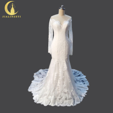 Rhine Real Sample Image Sexy Long Sleeves Sexy Back Lace Mermaid Bridal Wedding Gown wedding dresses