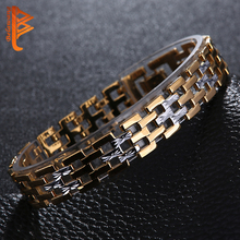 BELAWANG Men Stainless Steel Bracelet 2016 Gold color Chain Bracelets Men Jewelry Accessories Wristband Men Bracelets