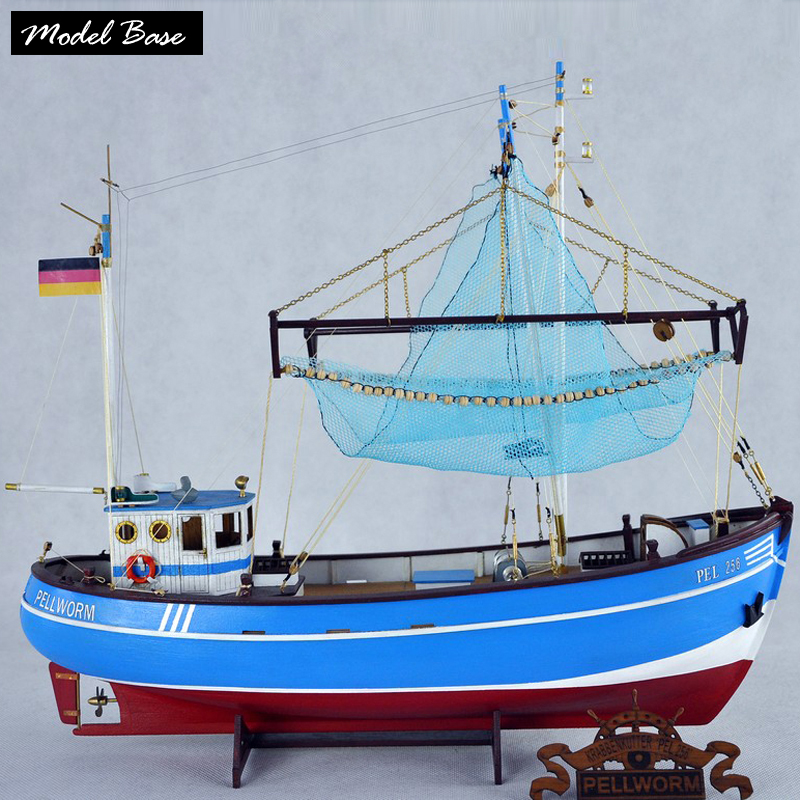 Wooden Ship Models Kits Adult Assembly Educational Kids Toys 3d Laser Cut Wood Model Boats  Scale 1:48 PELLWORM Fishing Boat