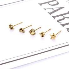 0936dfa416af 5 unids set mujeres oro Ultra pequeños pendientes de tachuela Mini  pendientes de estrella de mar pendientes tortuga Coco cangrej.