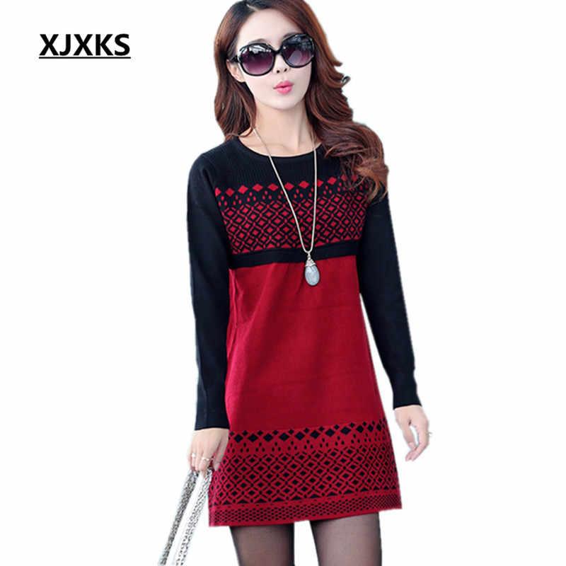 Xjxks Baru 2019 Wanita Sweater Wol Longgar Tebal Plus Ukuran Gaun Musim Dingin Fashion Pullover Lindung Nilai Kausal Wanita Sweter Gaun