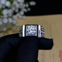 Shilovem 925 серебро Муассанит кольца с алмазами для мужчин классические свадебные завод новый 2ct vvs bj080868agmoz