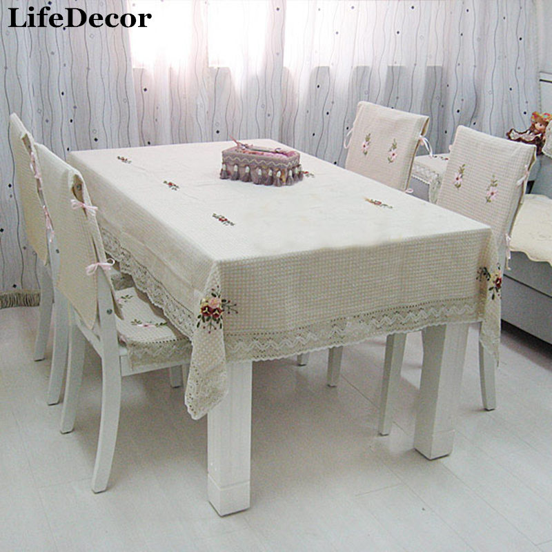 Quality Dining Room Chair Covers Vintage Swing Ribbon Embroidery Table Cloth Multi Purpose Tablecloth Towel Cover Pad