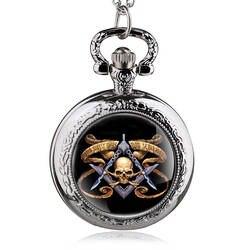 Новое поступление Винтаж черный череп Дизайн Ретро Повседневное подвеска карманные часы с Цепочки и ожерелья цепь Best подарок