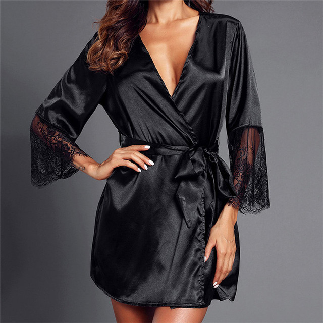 Women Lace Patchwork Long Sleeve Nightgown Kimono Satin Black Robes sexy  Sleepwear with belts  1024 A 487 896b458dc