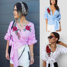 2017 Fashion Womens Summer V-Neck Shirts Embroidered Shirt Casual Blouse Loose Bandage Bow Cotton Tops Half Sleeves Blouses