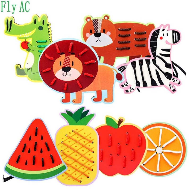 Montessori Learning Education Wooden Toys Cartoon Animals Fruit Tree Fruit Beads Educational Toy For Children Birthday Gift