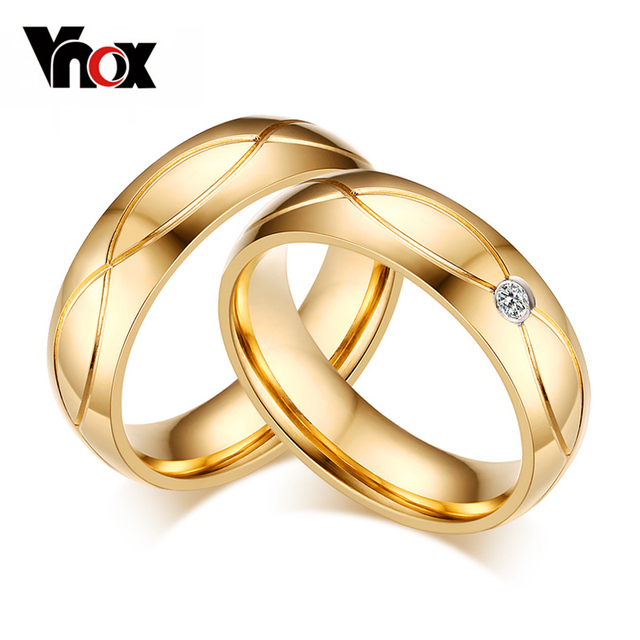 Vnox Hot Wedding Bands Rings For Women Men Gold Color Stainless Steel Engagement Ring Jewelry