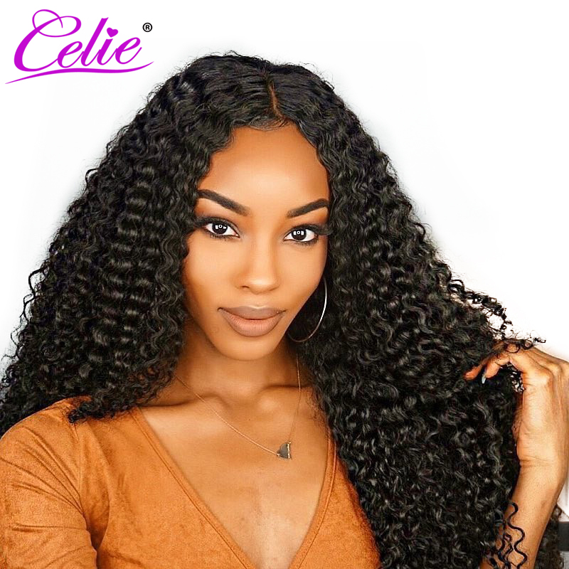 Celie Kinky Curly Human Hair Wig Pre Plucked Brazilian 360 Lace Frontal Wig 180 250 Density