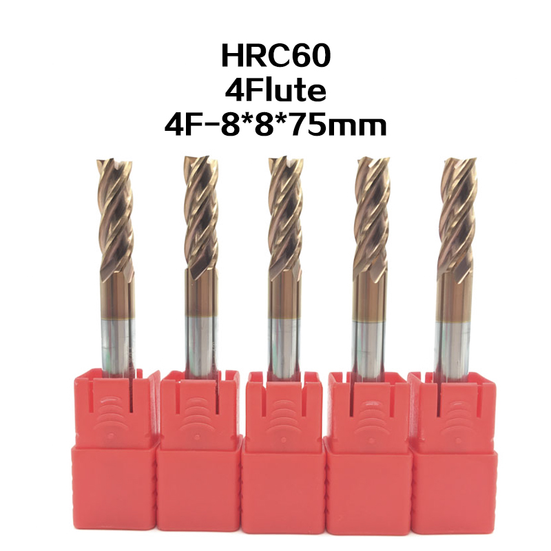 5PCS 4F D8*75L HRC60 Carbide Tips End Mill Bits Straight Shank Tungsten Steel Milling Cutter for Steel 4 flute  CNC High-speed