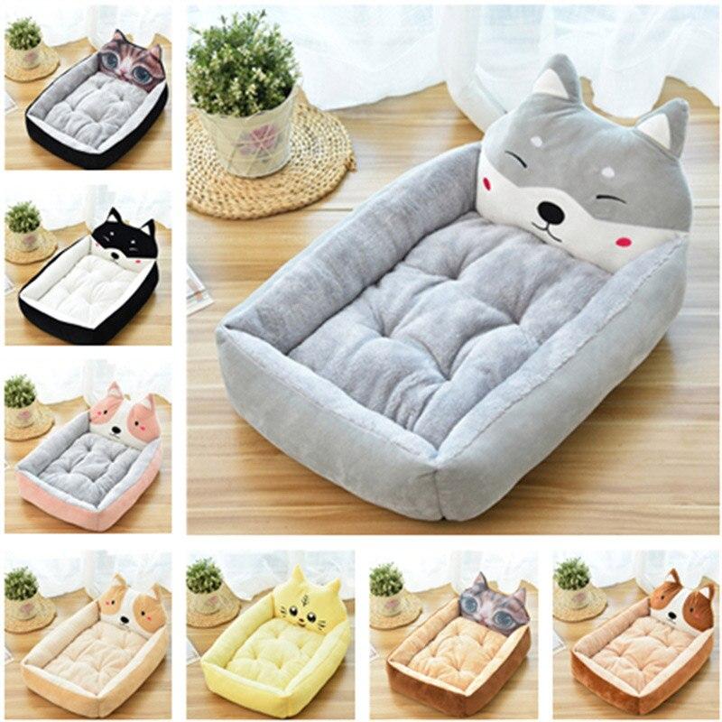 Lindo para mascotas cama del perro de Animal de dibujos animados en forma de perreras tumbona sofá invierno cálido gato perro de la casa cubierta de gran cesta de perro colchón