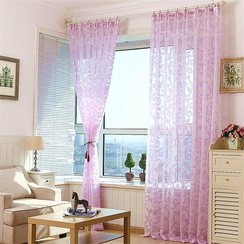 Modern Minimalis Tirai Ruang Balkon Kamar Tidur Jendela Pink Putih