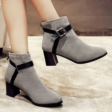 Martin Boots With Belt Buckle Black Gray Suede Round Toe Thick High Heels Booties Shoes For Women Korean Style Fashion Elegant
