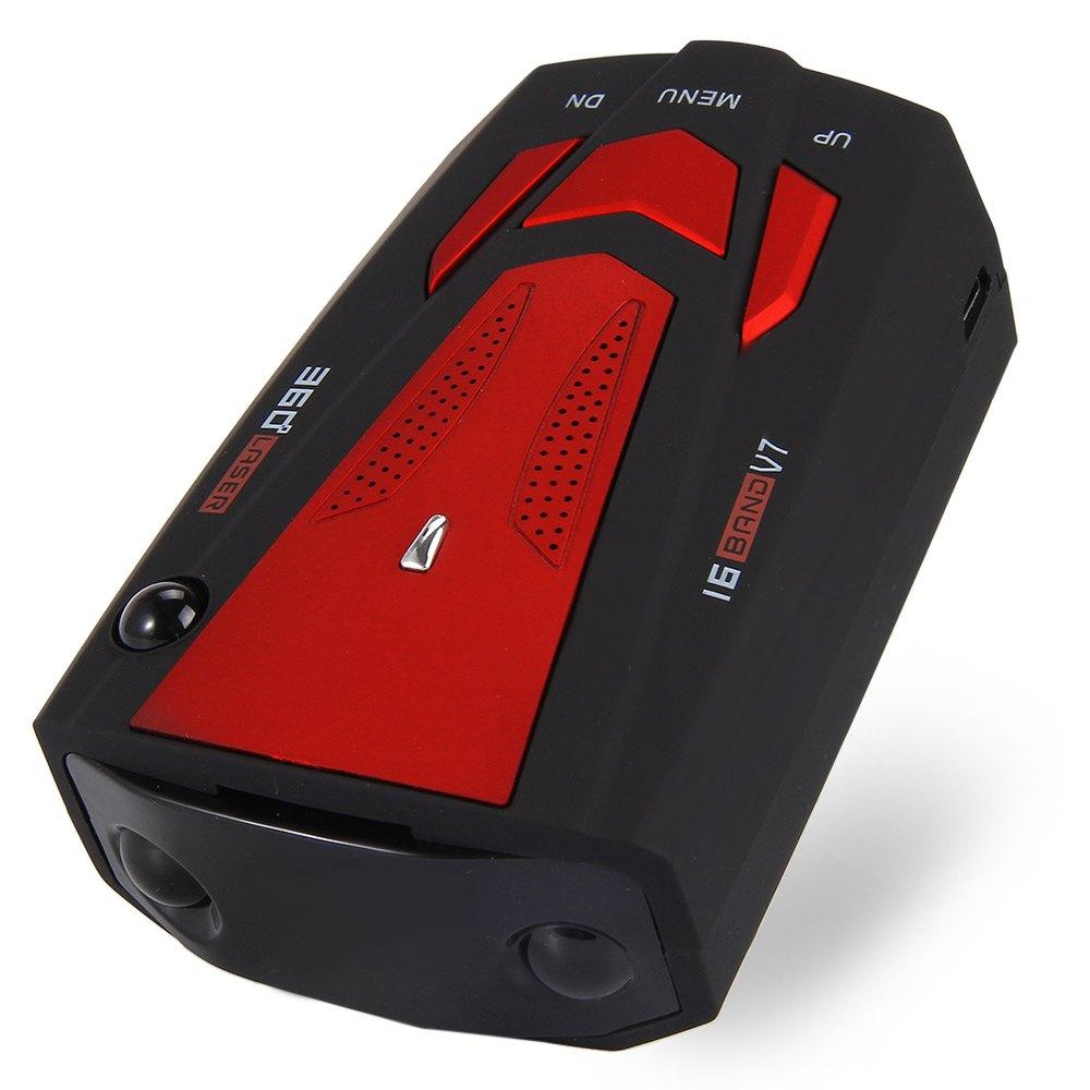 Авто 360 Градусов Автомобиль Анти Антирадары для красный автомобиль Скорость голосового оповещения Предупреждение с 16 группы LED Дисплей лазерного детектора