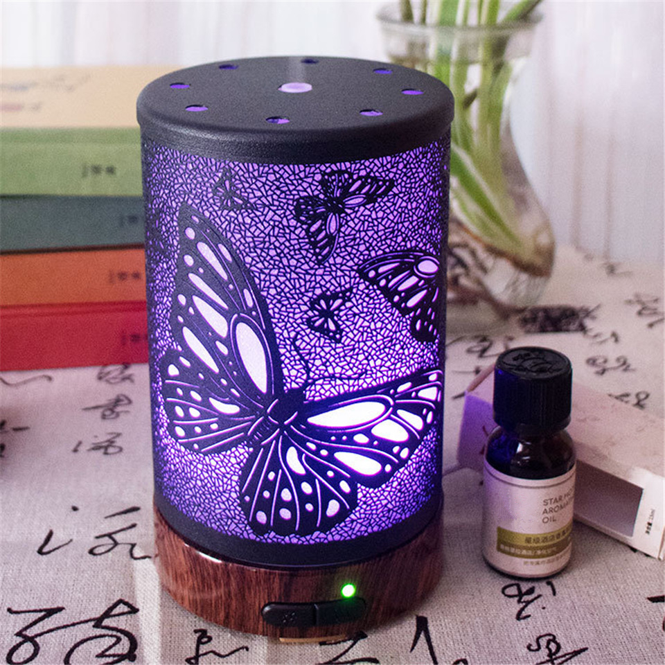 100ML Butterfly Pattern Air Humidifier Electric Aroma Essential Oil Diffuser With Colorful Night Light Ultrasonic Mist Maker With Water Shortage Power Off Protection