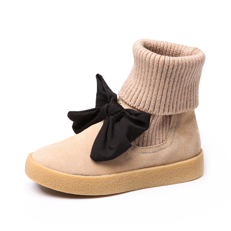 Kids Girls Genuine Leather Boots Children Bow Cowhide Solid Shoes Classical Elegant Princess Fashion Wool Snow Boots