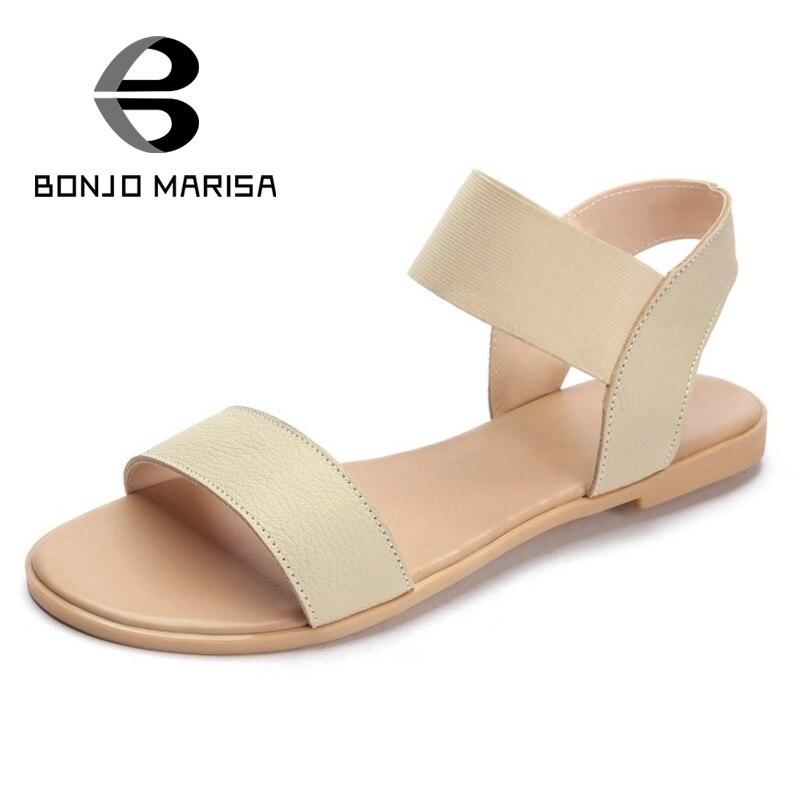 ФОТО Promotion Women Leisure Gladiator Sandals Flat Heels Ankle Straps Open Toe Black Apricot Summer Shoes Woman BONJOMARISA