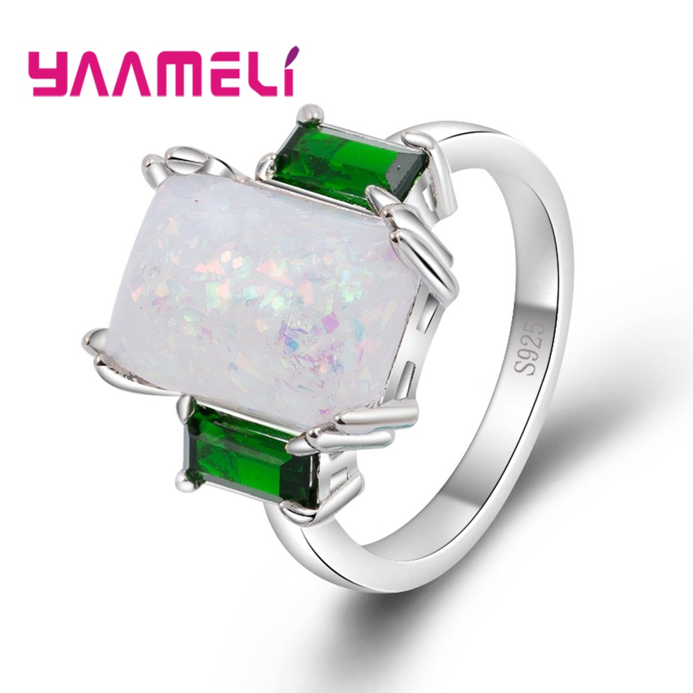 YAAMELI Real 925 Sterling Silver Women Band Rings Filled Brilliant Big Cubic Zirconia Stone Opal Wedding Anel Accessories