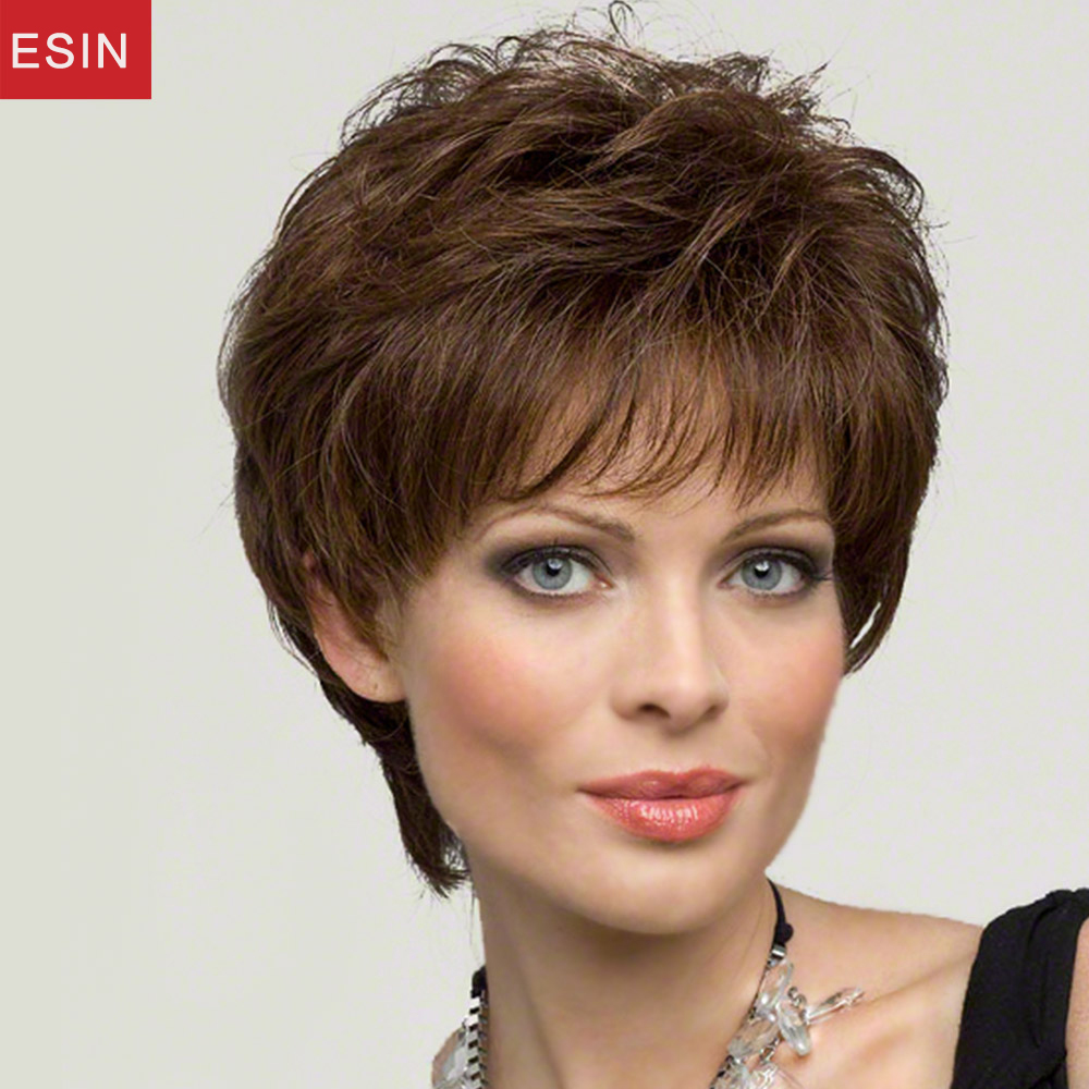 Esin Fluffy Mixed 70% Natural Hair Blend Wigs for Women Elegant Side Parting Brown Color Multi-layered Short Hair Wigs