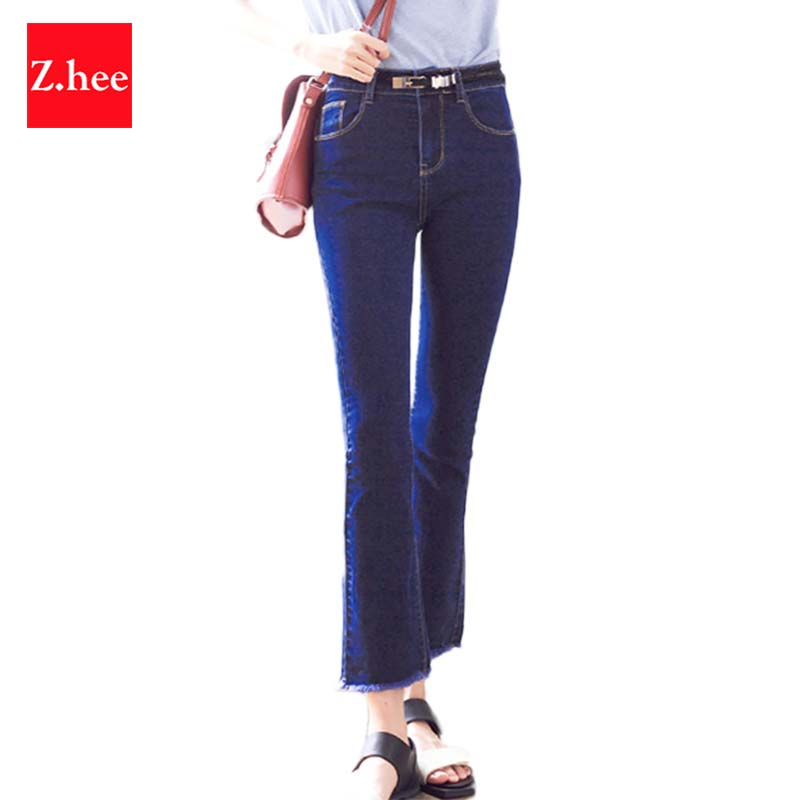 Casual Slim Elasticity High Waist Micro Flared Jeans Women Denim Fashion Loose Capris Jeans Slim Nine Points Female Flared Pants