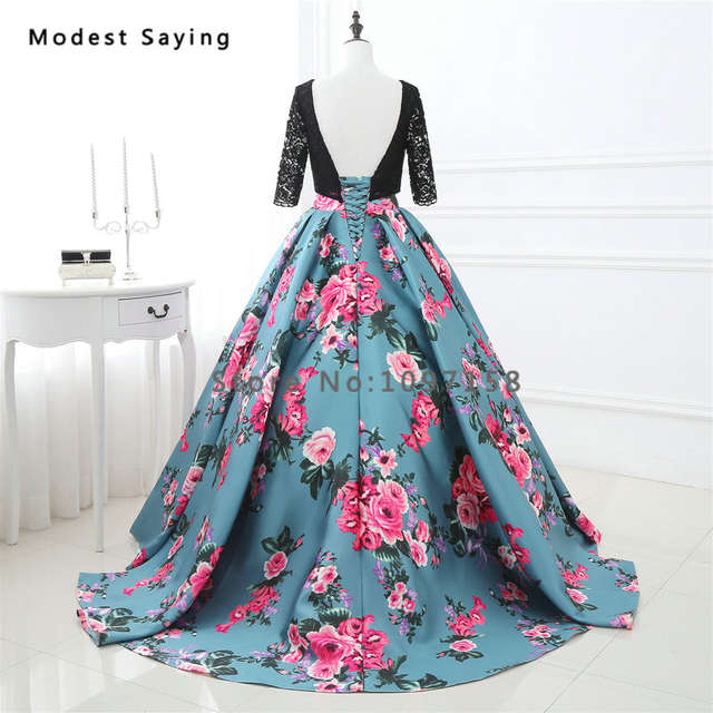 Elegant Ball Gown Floral Print Lace Bodice Evening Dresses 2017 with Sleeves  Formal Women Long Party 752807608