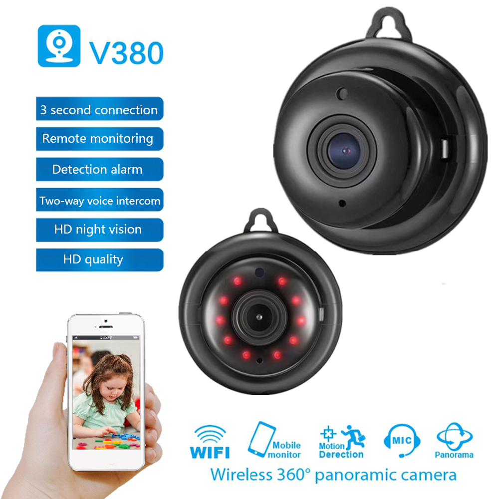 V380 Mini Wifi 960P HD IP Camera Wireless CCTV Infrared Night Vision Motion Detection 2-Way Audio Motion Tracker Home Security