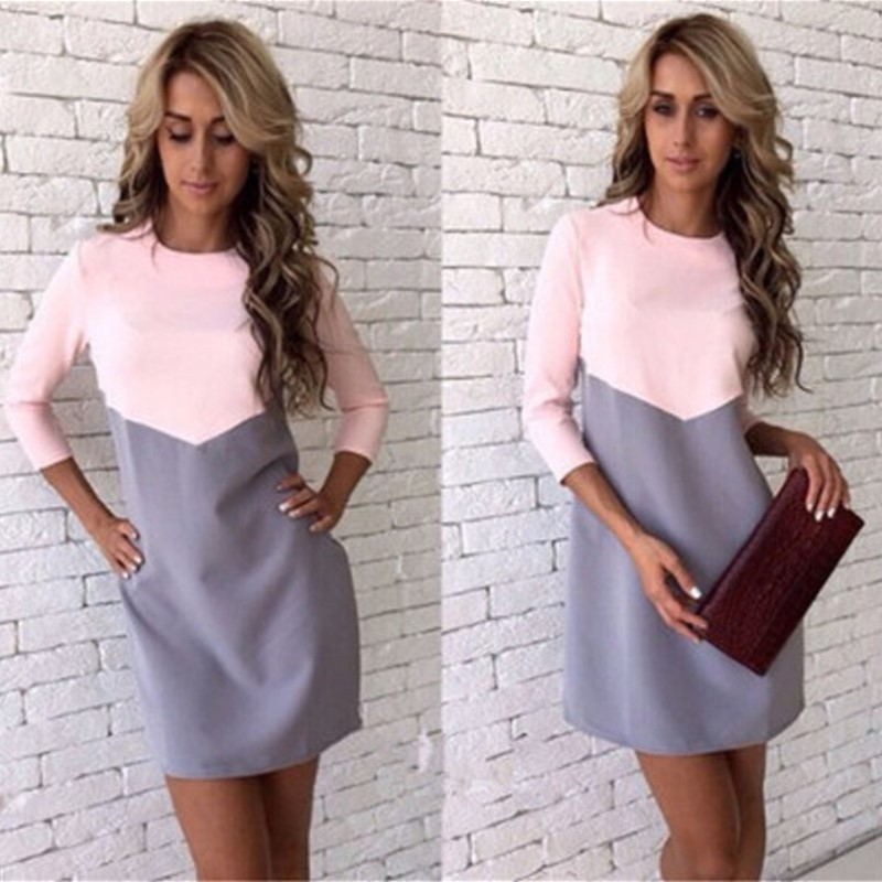 2018 New Fashion Spring Summer Dress Women Plus Size Sexy Slim Mini Patchwork Office Dress O-Neck Pencil Dresses Female Clothing