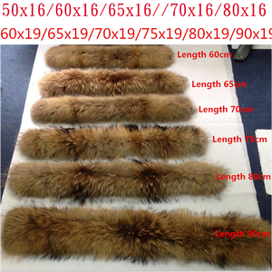 Image 4 - Natural Fur Collar 100% real Raccoon Fur Scarf For Mens Womens kids Parkas Coats Male furs Collars Black 50 60 70 90 cm