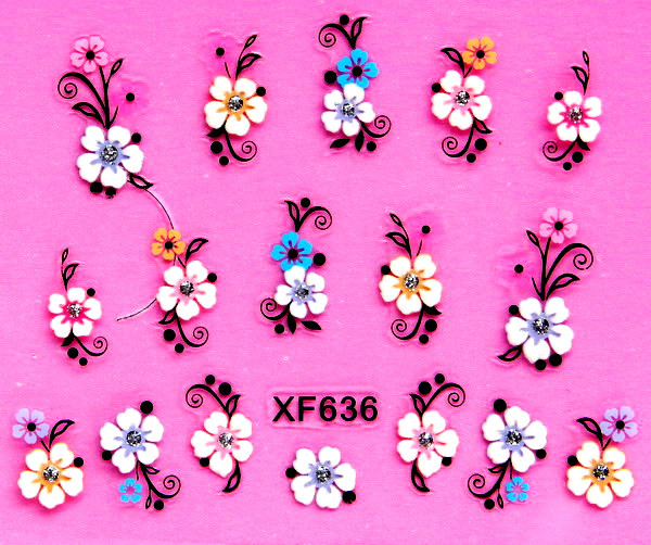 sweet 3D flower design Water Transfer Nails Art Sticker decals lady women manicure tools Nail Wraps Decals wholesale
