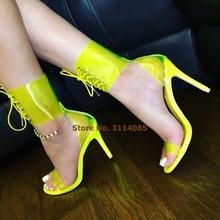 Women Newest Neon Yellow Orange Clear PVC High Heel Sandals Stiletto Heels Strappy Shoes Lace-up Banquet Shoes Gladiator Sandals clear strappy design stiletto heels