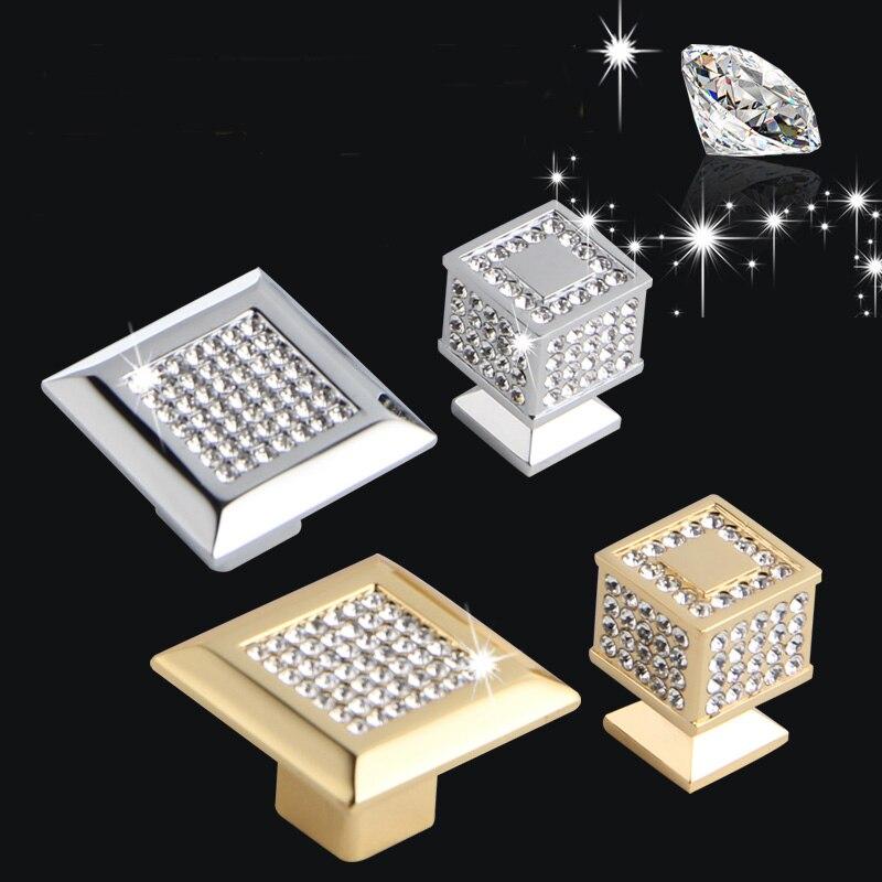 ୧ʕ ʔ୨24 K verdadero oro o cromo checa cristal cajón perillas ...