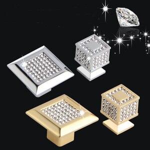 Image 1 - 24k ouro real ou cromo checa cristal gaveta armário botões guarda roupa puxadores de móveis puxadores puxadores
