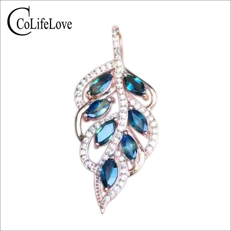 Charme de Femmes De Mode Bijou Bleu Saphir Pendentif pur 925 solide en argent sterling collier pendentif mode argent saphir bijoux