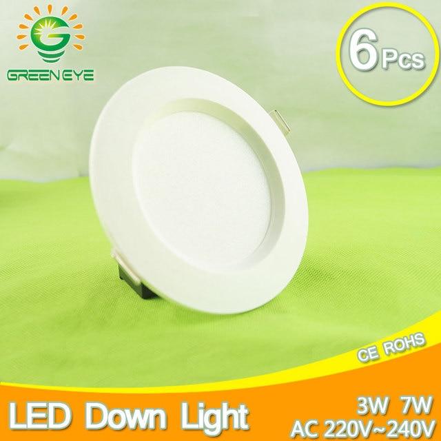 6pcs LED Downlight 220v 3w 7w 12w Led Lamp LED light Cold White Warm White Indoor Lighting panel Foyer Kitchen ceiling recessed