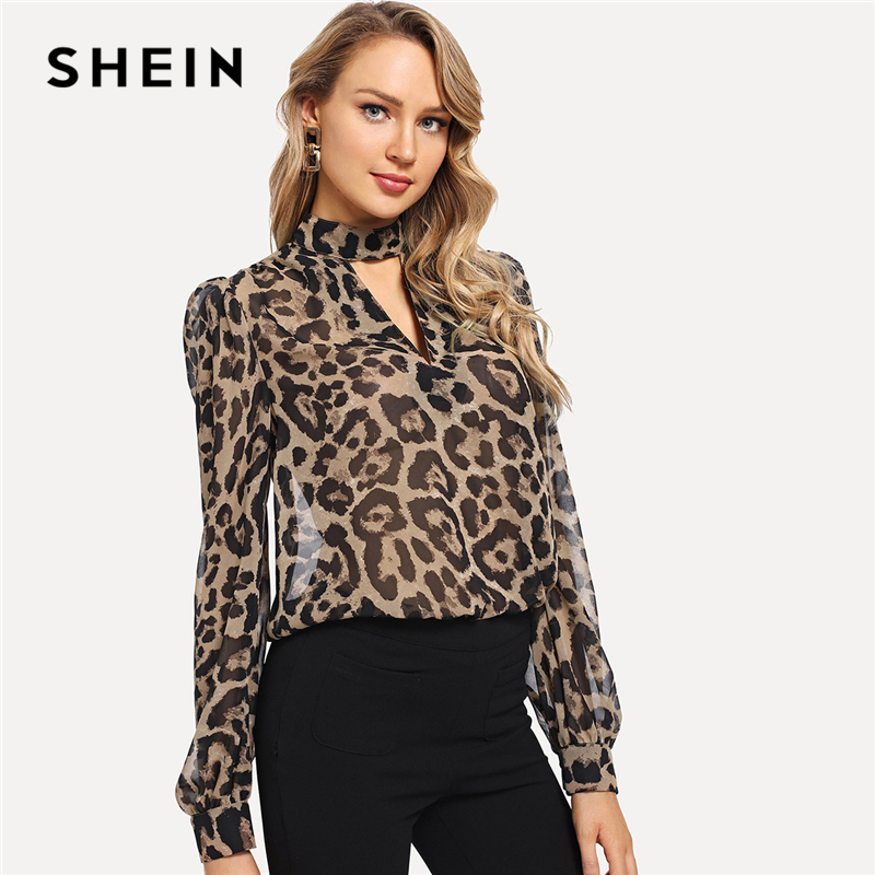 SHEIN Multicolor Office Lady Choker Neck Leopard Print Cut Out Long Sleeve Blouse Autumn Workwear Fashion Women Tops And Blouses