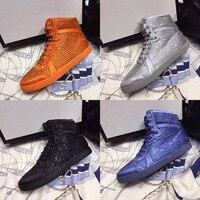 Лидер продаж Женская Демисезонная обувь кристалл красочные высокое носком повседневные туфли на плоской подошве на шнуровке удобная обувь