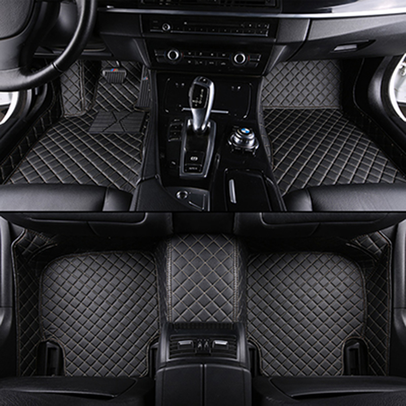 Custom car floor mats for mitsubishi outlander xl pajero 4 sport lancer grandis galant asx leather car mats auto accessories(China)