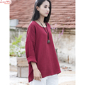 Dropped Shoulder Round Collar Solid Simple Linen T-shirt Long Sleeve Side Split Tops Women Loose t shirt Tees