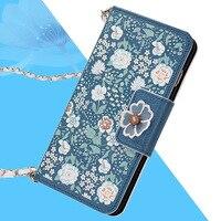Case para samsung galaxy s6/s7 edge/s6 edge plus/note 5/note 4 cobertura flor luxo virar slot para cartão pu de couro com alça invólucro