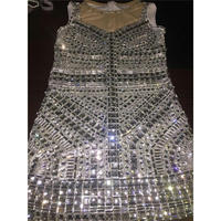 Fashion Glisten Rhinestone Dress Shining Women Sexy Party Sequins One piece Dresses Costumes Stage Dance Nightclub Party Wear
