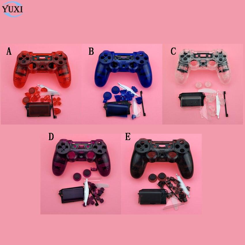 YuXi Für Sony Playstation 4 PS4 Dualshock 4 Gamepad Controller Transparent Clear Front Zurück Gehäuse Shell Fall Abdeckung