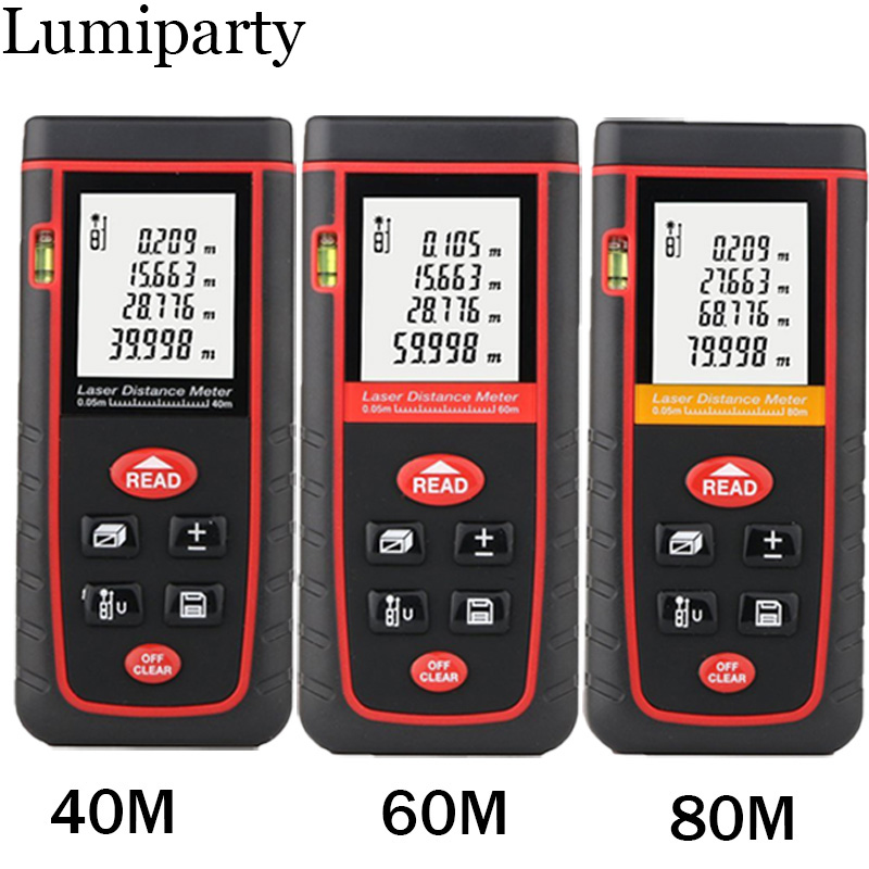Laser Tape Measure 40M 60M 80M Rangefinder Trena Range Finder Build Device Ruler Test Tool Distance Meter