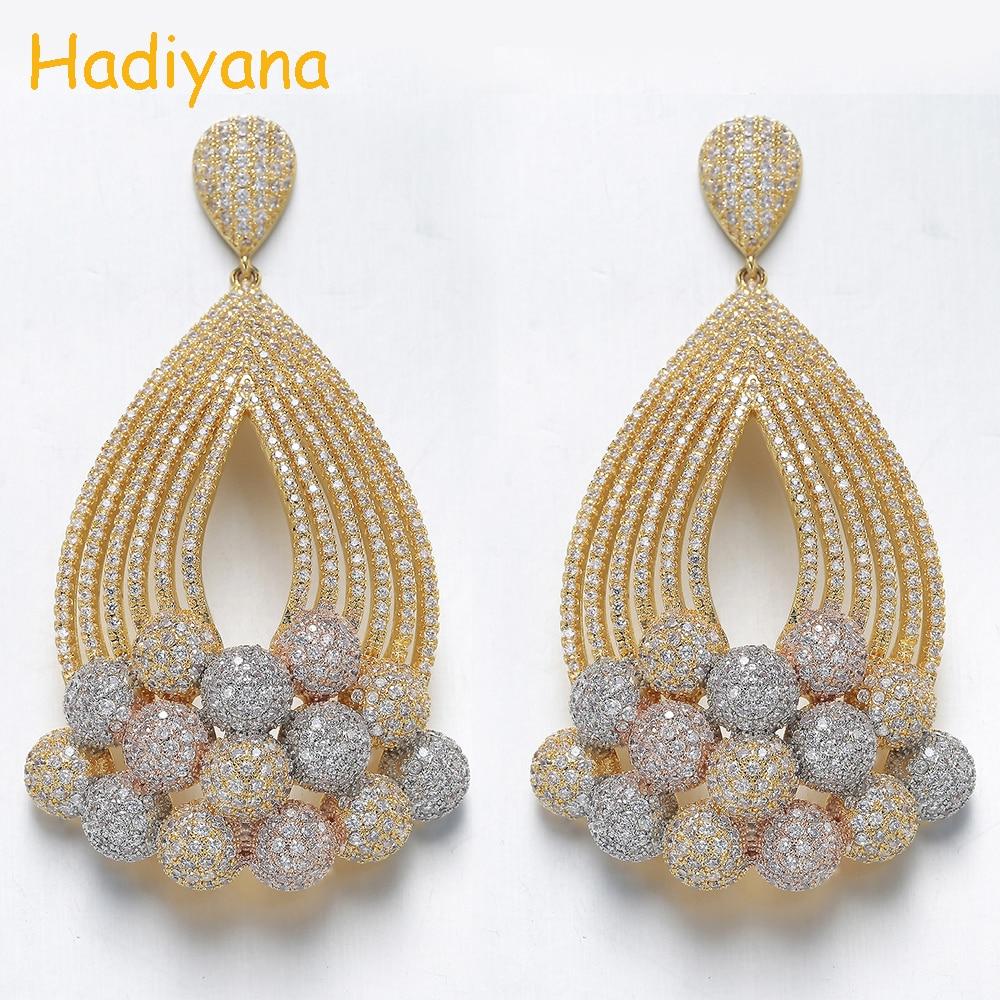 Hadiyana 2019 nouveauté Multi couleur perles gland boucles d'oreilles femmes Mirco pavé Zircon Bijoux en perles pendentif Bijoux boucle d'oreille EH922
